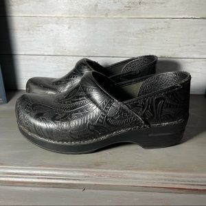 Dansko Black Paisley floral tooled clogs